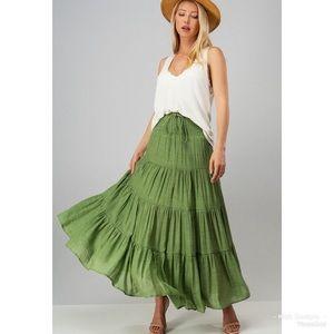 Dresses & Skirts - ❤️LAST 3! Smock Waist Drawstring Tiered Maxi Skirt